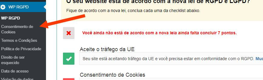 consentimento de cookies rgpd configuração